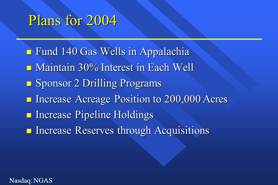 Nasdaq: NGAS Plans for 2004 n Fund 140 Gas Wells in Appalachia n Maintain 30% Interest in Each Well n Sponsor 2 Drilling Programs n Increase Acreage P