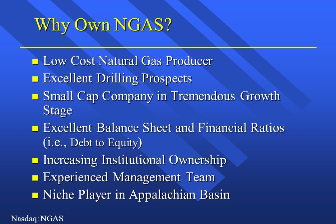 Nasdaq: NGAS Why Own NGAS? n Low Cost Natural Gas Producer n Excellent Drilling Prospects n Small Cap Company in Tremendous Growth Stage n Excellent B