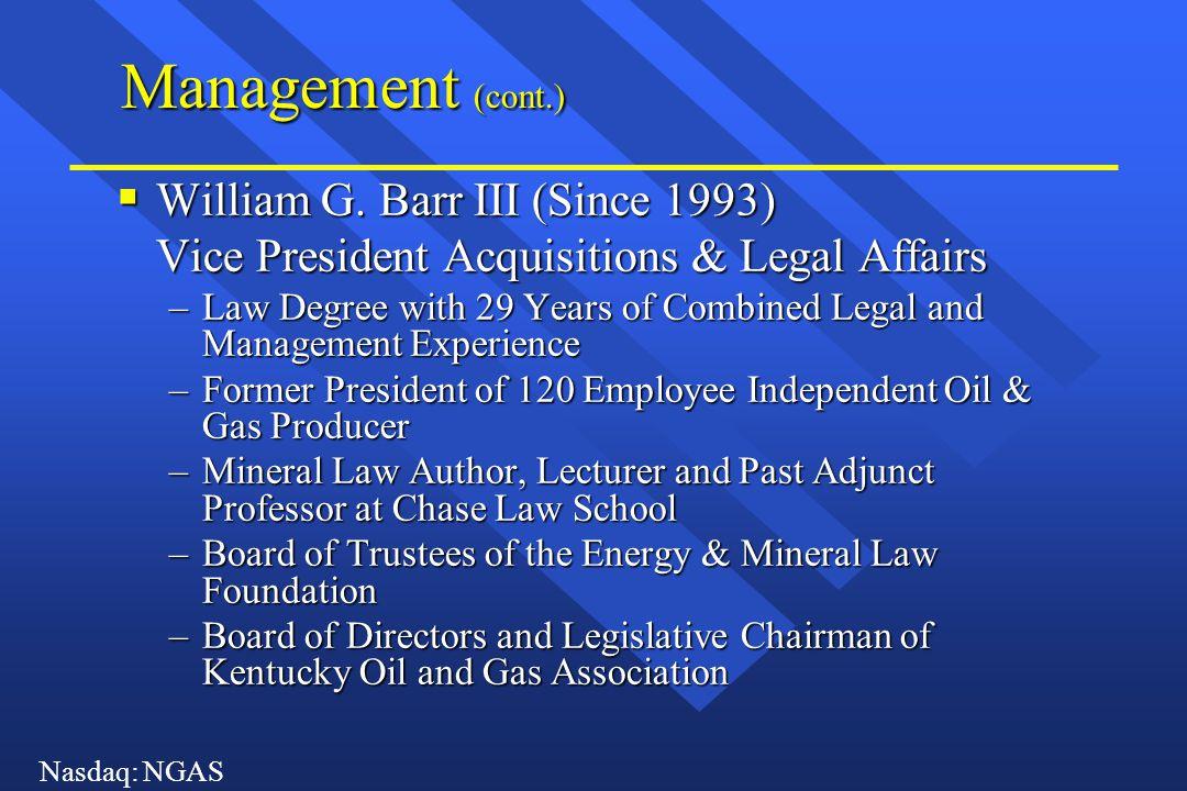 Nasdaq: NGAS Management (cont.)  D.