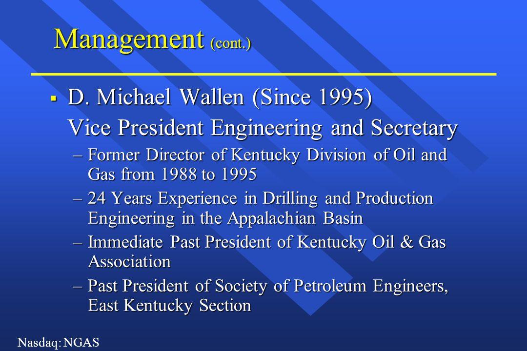 Nasdaq: NGAS Management (cont.)  Michael P.