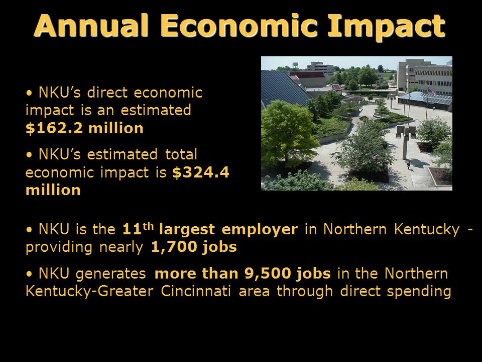 Annual Economic Impact NKU's direct economic impact is an estimated $162.2 million NKU's estimated total economic impact is $324.4 million NKU is the 11 th largest employer in Northern Kentucky - providing nearly 1,700 jobs NKU generates more than 9,500 jobs in the Northern Kentucky-Greater Cincinnati area through direct spending