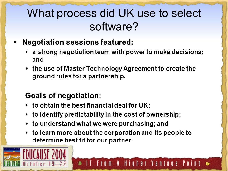 What process did UK use to select software.