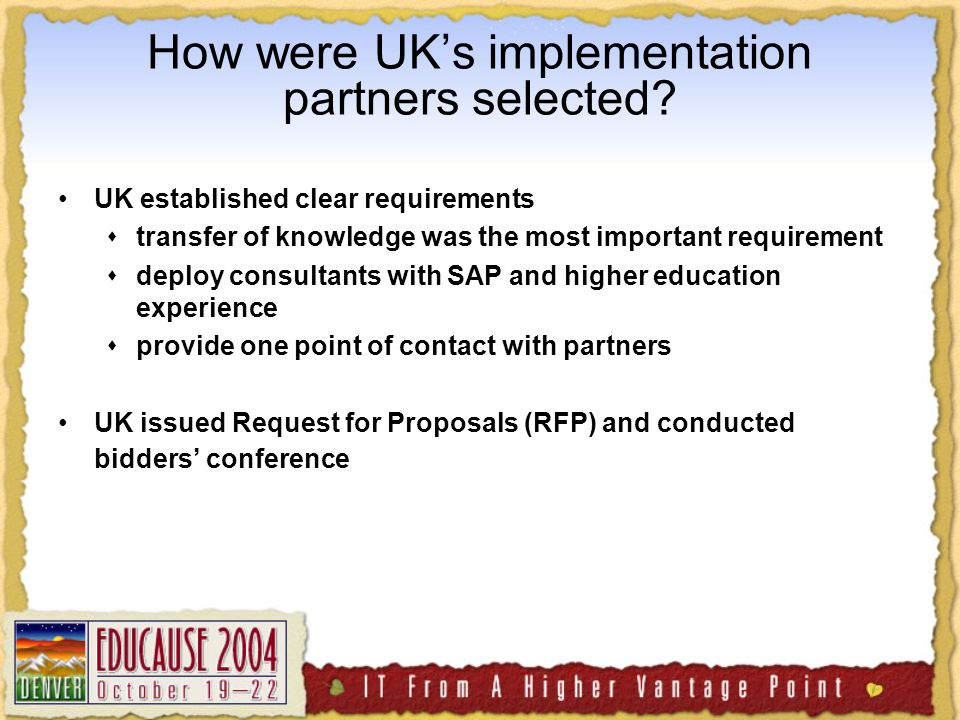 How were UK's implementation partners selected.