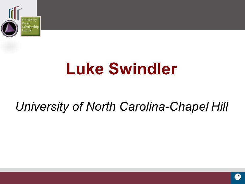10 Luke Swindler University of North Carolina-Chapel Hill