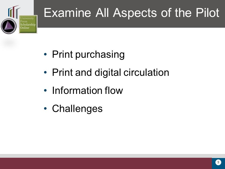 9 Print purchasing Print and digital circulation Information flow Challenges Examine All Aspects of the Pilot