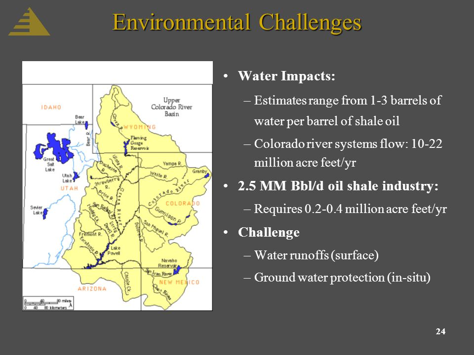 24 Environmental Challenges Water Impacts: –Estimates range from 1-3 barrels of water per barrel of shale oil –Colorado river systems flow: 10-22 million acre feet/yr 2.5 MM Bbl/d oil shale industry: –Requires 0.2-0.4 million acre feet/yr Challenge –Water runoffs (surface) –Ground water protection (in-situ)
