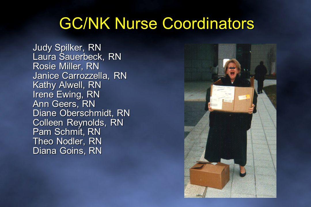 GC/NK Nurse Coordinators Judy Spilker, RN Laura Sauerbeck, RN Rosie Miller, RN Janice Carrozzella, RN Kathy Alwell, RN Irene Ewing, RN Ann Geers, RN Diane Oberschmidt, RN Colleen Reynolds, RN Pam Schmit, RN Theo Nodler, RN Diana Goins, RN