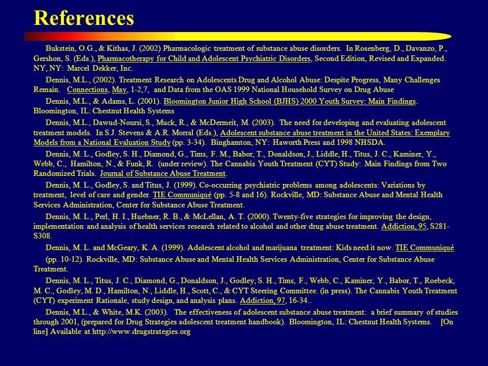 References Bukstein, O.G., & Kithas, J. (2002) Pharmacologic treatment of substance abuse disorders. In Rosenberg, D., Davanzo, P., Gershon, S. (Eds.)
