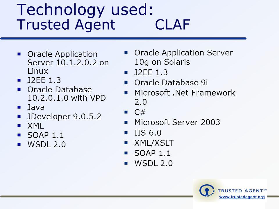 www.trustedagent.org Technology used: Trusted Agent CLAF  Oracle Application Server 10.1.2.0.2 on Linux  J2EE 1.3  Oracle Database 10.2.0.1.0 with VPD  Java  JDeveloper 9.0.5.2  XML  SOAP 1.1  WSDL 2.0  Oracle Application Server 10g on Solaris  J2EE 1.3  Oracle Database 9i  Microsoft.Net Framework 2.0  C#  Microsoft Server 2003  IIS 6.0  XML/XSLT  SOAP 1.1  WSDL 2.0