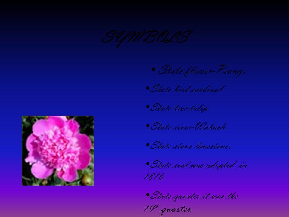SYMBOLS State flower-Peony.State bird-cardinal. State tree-tulip.