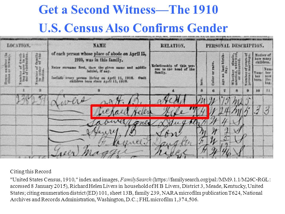 Get a Second Witness—The 1910 U.S.