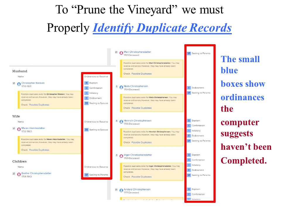 """To """"Prune the Vineyard"""" we must Properly Identify Duplicate Records The small blue boxes show ordinances the computer suggests haven't been Completed."""