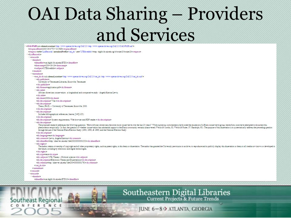 OAI Data Sharing – Providers and Services