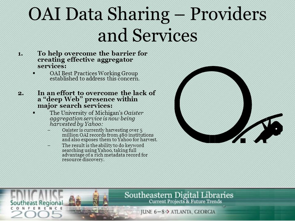  OAI-PMH is a relatively new service with some barriers that are yet to be negotiated: 1.Limitations on Selective Harvesting:  Currently, can only select by date stamp and defined sets 2.Aggregating metadata from heterogeneous sources is challenging:  By its very nature the aggregation of metadata is likely to produce unsatisfactory user experiences unless significant modification of metadata as well as targeted services are developed.