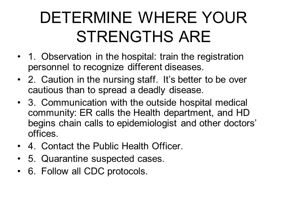 DETERMINE WHERE YOUR STRENGTHS ARE 1.