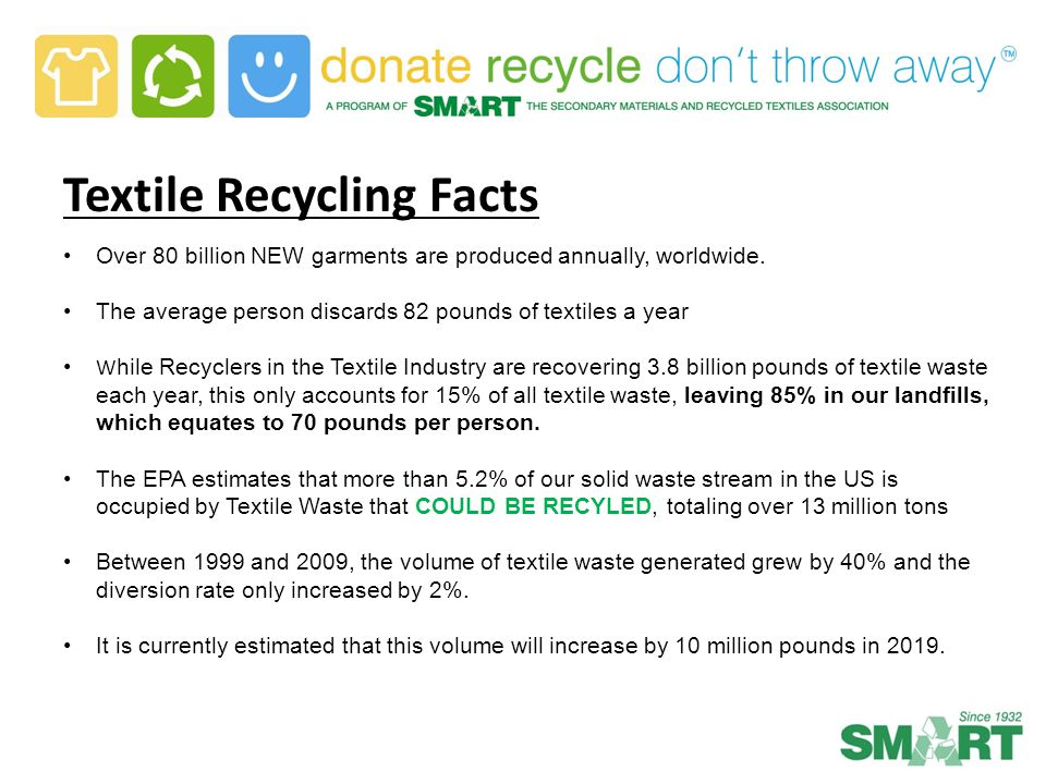 Textile Recycling Facts Over 80 billion NEW garments are produced annually, worldwide. The average person discards 82 pounds of textiles a year W hile