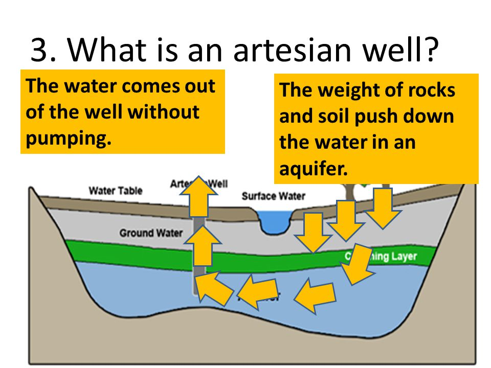 3. What is an artesian well? The weight of rocks and soil push down the water in an aquifer. The water comes out of the well without pumping.