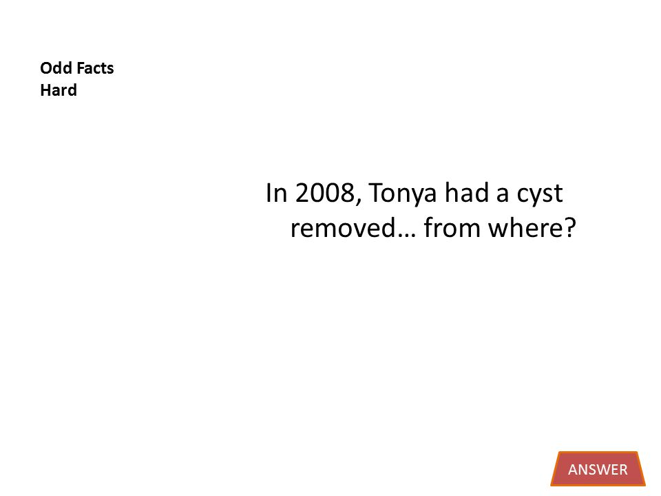 Odd Facts Hard In 2008, Tonya had a cyst removed… from where ANSWER
