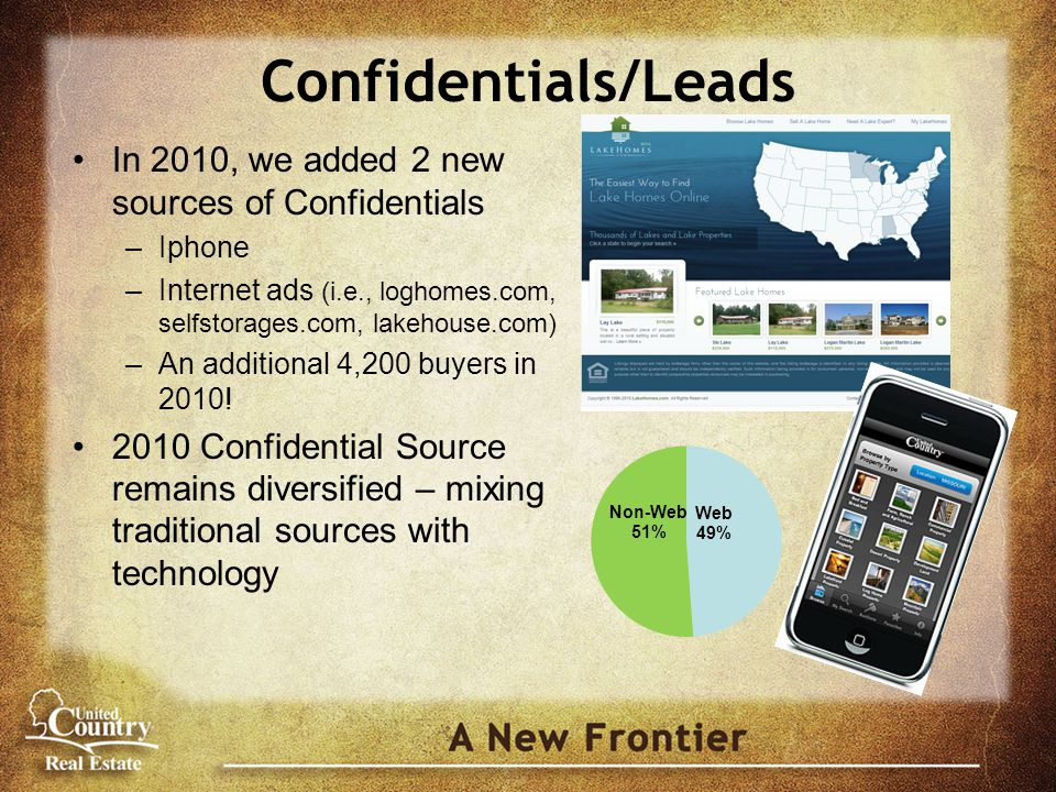 Confidentials/Leads In 2010, we added 2 new sources of Confidentials –Iphone –Internet ads (i.e., loghomes.com, selfstorages.com, lakehouse.com) –An additional 4,200 buyers in 2010.