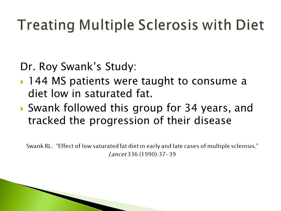 Dr. Roy Swank's Study:  144 MS patients were taught to consume a diet low in saturated fat.