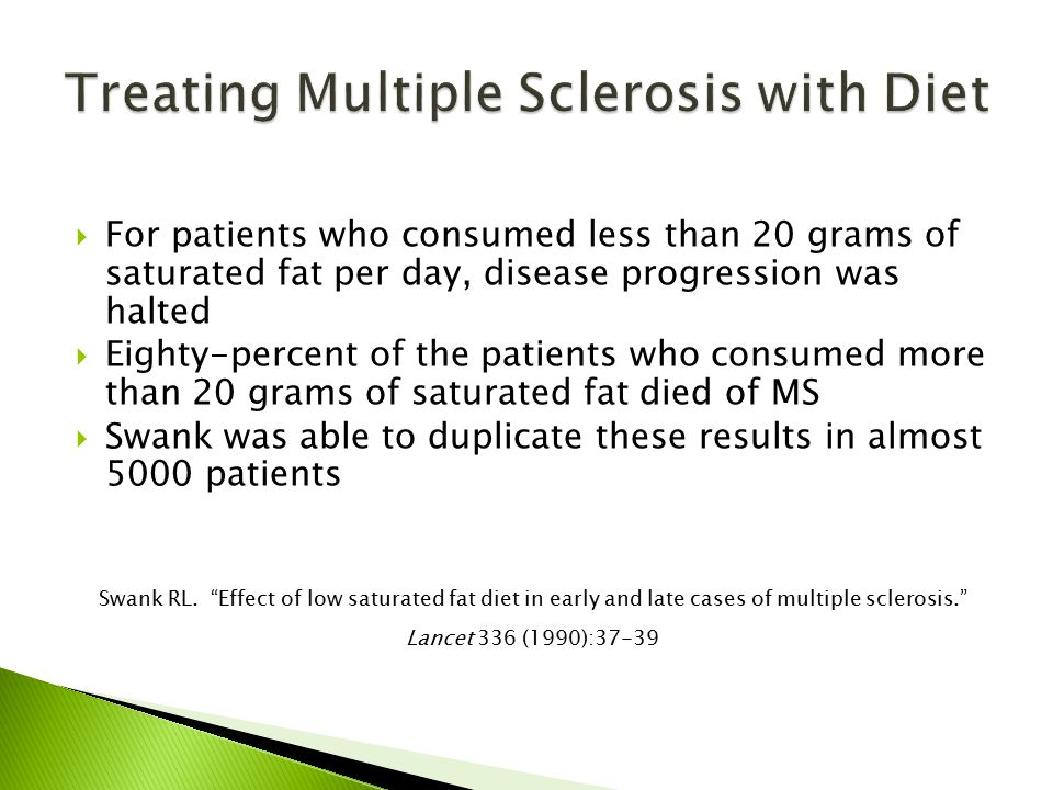  For patients who consumed less than 20 grams of saturated fat per day, disease progression was halted  Eighty-percent of the patients who consumed more than 20 grams of saturated fat died of MS  Swank was able to duplicate these results in almost 5000 patients Swank RL.