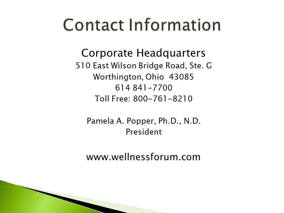 Corporate Headquarters 510 East Wilson Bridge Road, Ste.
