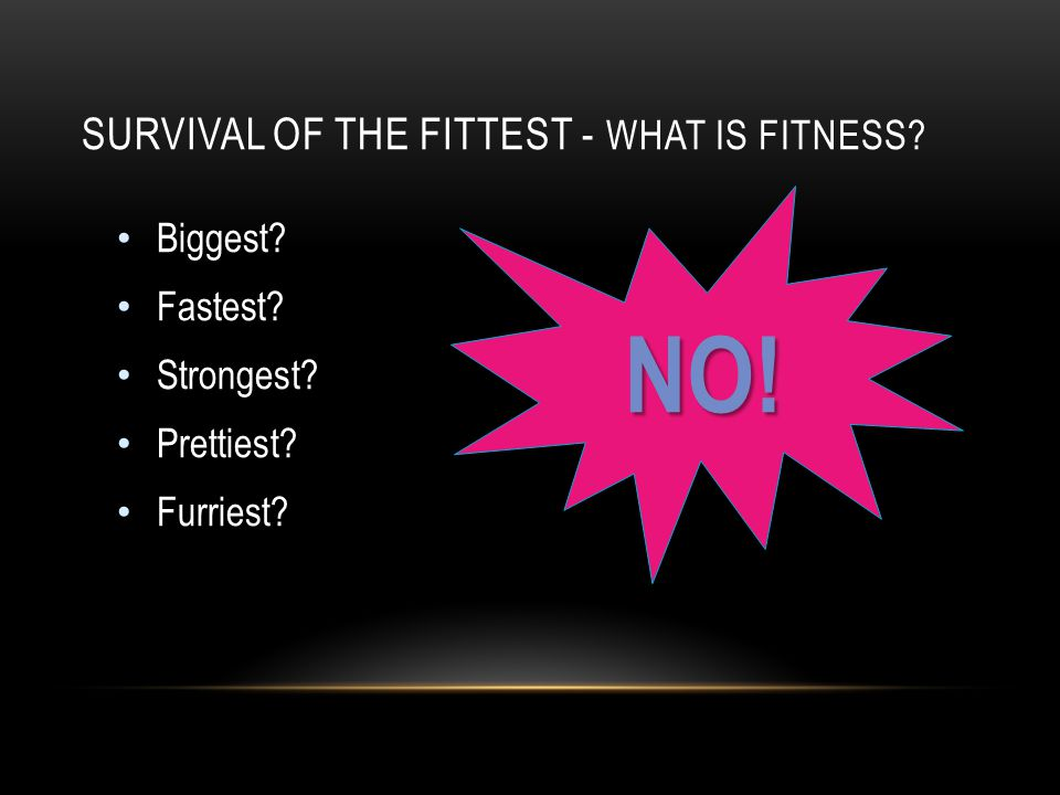 SURVIVAL OF THE FITTEST - WHAT IS FITNESS? Biggest? Fastest? Strongest? Prettiest? Furriest? NO!