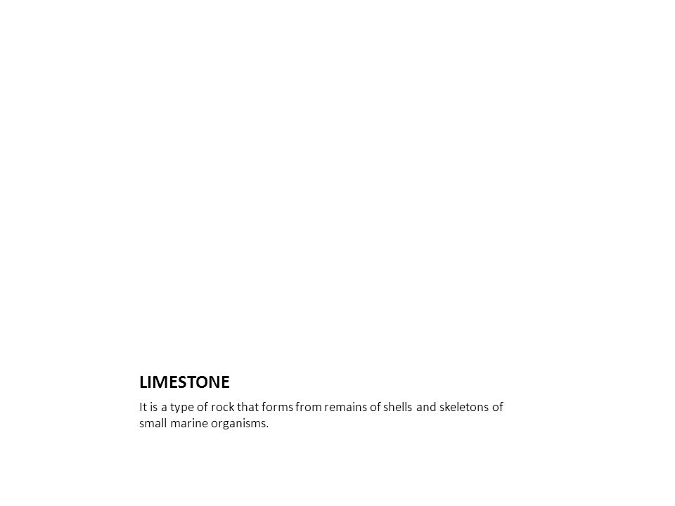 LIMESTONE It is a type of rock that forms from remains of shells and skeletons of small marine organisms.