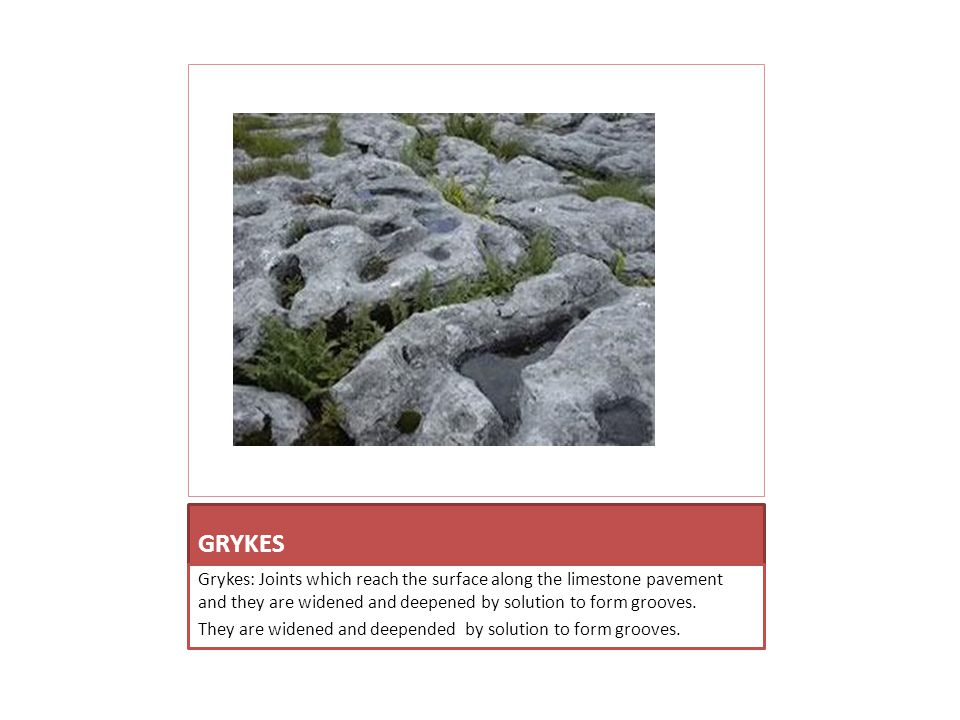 GRYKES Grykes: Joints which reach the surface along the limestone pavement and they are widened and deepened by solution to form grooves.