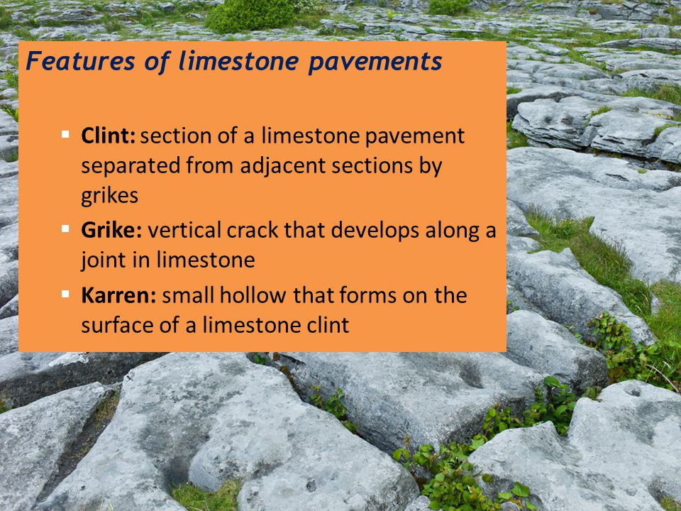 Features of limestone pavements  Clint: section of a limestone pavement separated from adjacent sections by grikes  Grike: vertical crack that devel