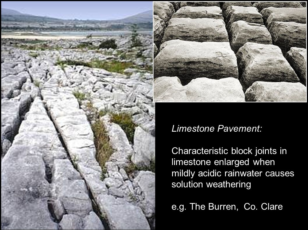 Limestone Pavement: Characteristic block joints in limestone enlarged when mildly acidic rainwater causes solution weathering e.g.