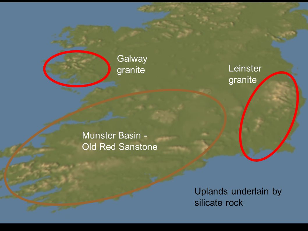 Uplands underlain by silicate rock Galway granite Leinster granite Munster Basin - Old Red Sanstone