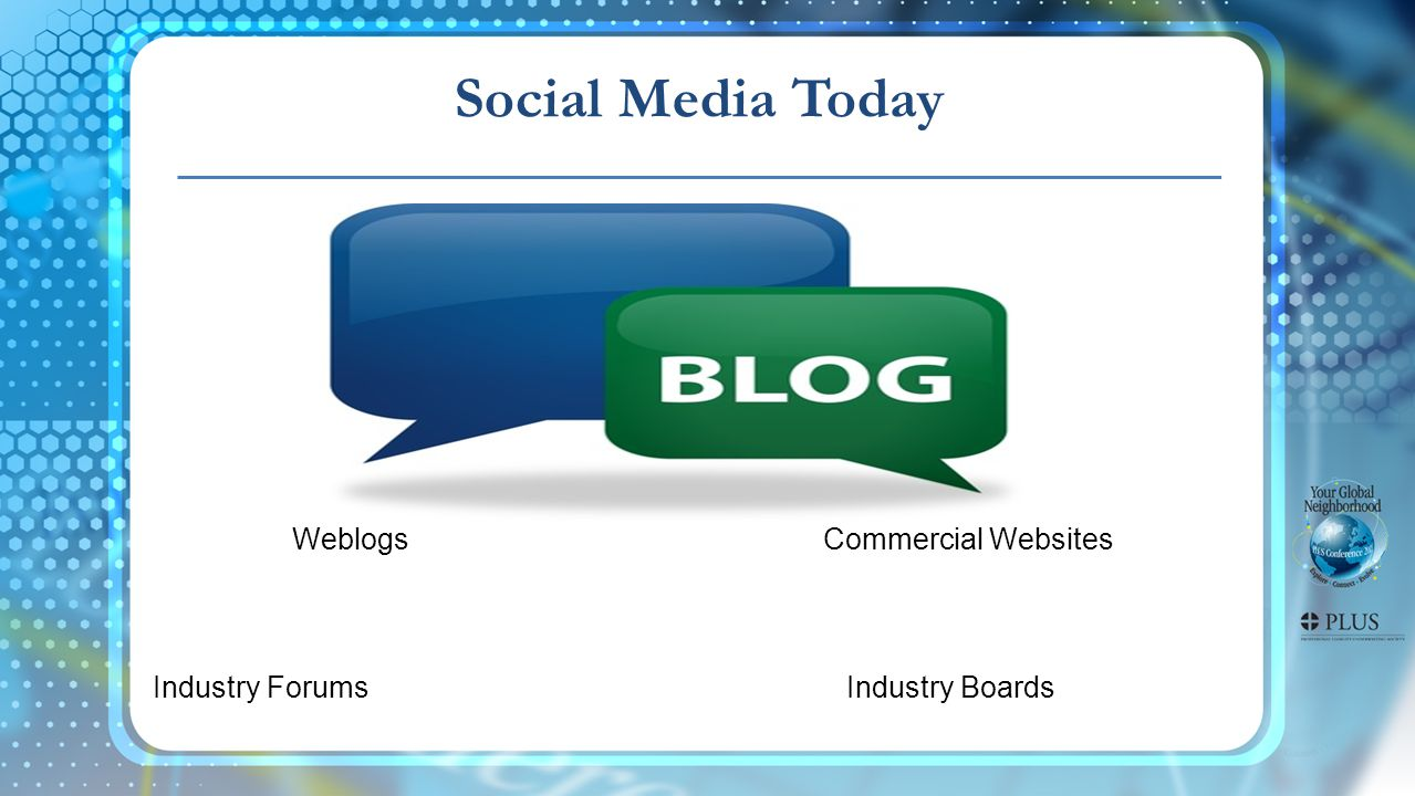 Social Media Today Weblogs Commercial Websites Industry Forums Industry Boards