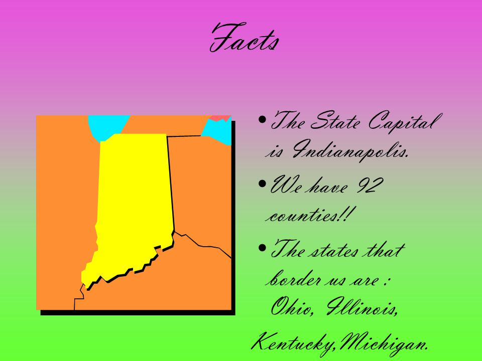 Facts The State Capital is Indianapolis. We have 92 counties!! The states that border us are : Ohio, Illinois, Kentucky,Michigan.