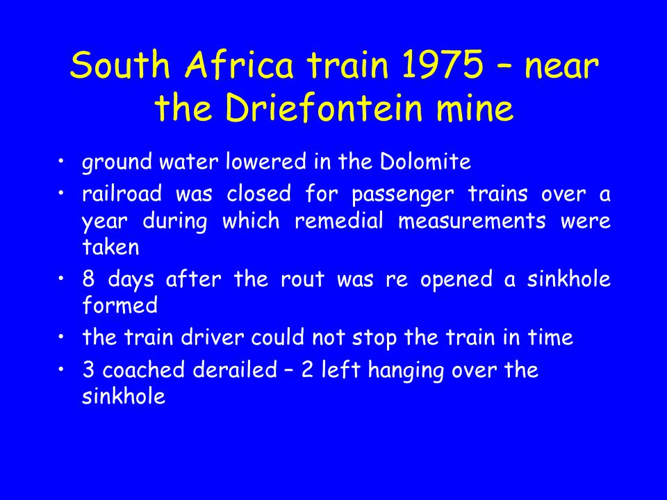 South Africa train 1975 – near the Driefontein mine ground water lowered in the Dolomite railroad was closed for passenger trains over a year during w