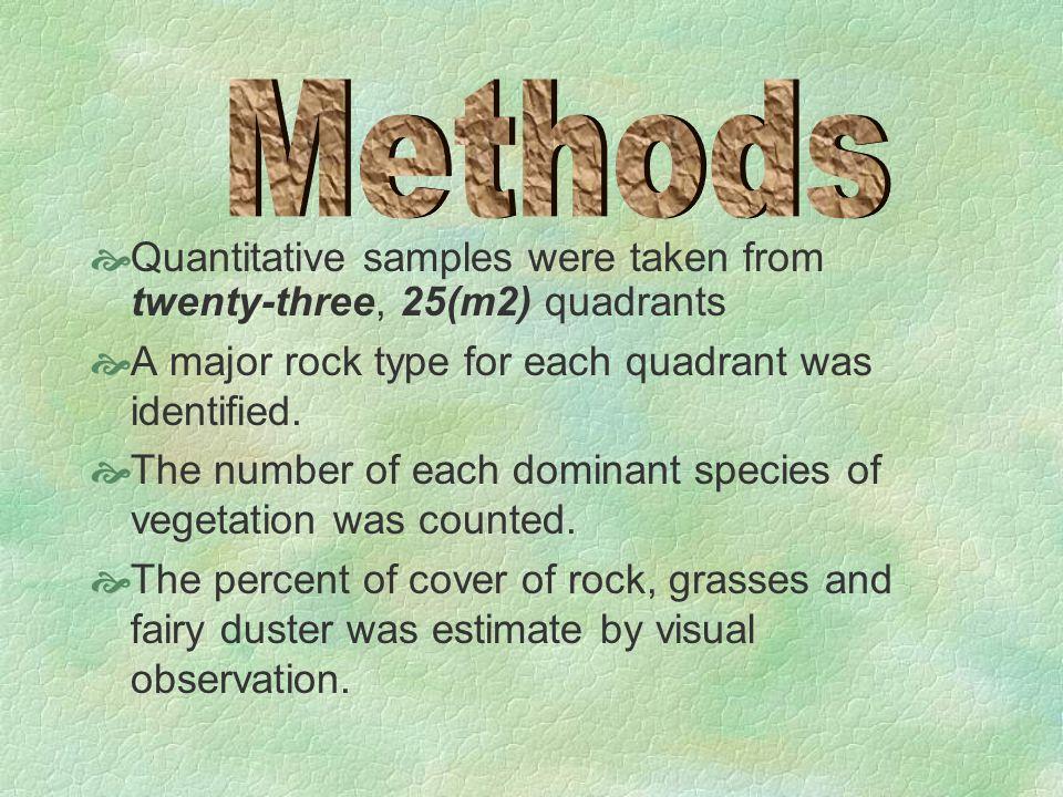  Quantitative samples were taken from twenty-three, 25(m2) quadrants  A major rock type for each quadrant was identified.