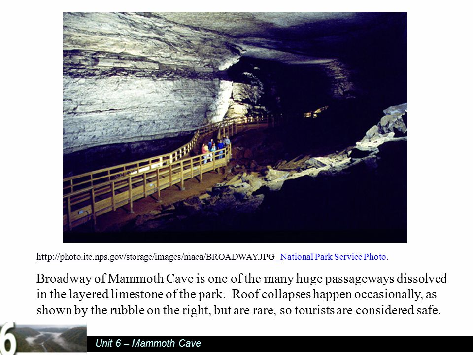 Unit 6 – Mammoth Cave http://photo.itc.nps.gov/storage/images/maca/BROADWAY.JPGhttp://photo.itc.nps.gov/storage/images/maca/BROADWAY.JPG National Park Service Photo.