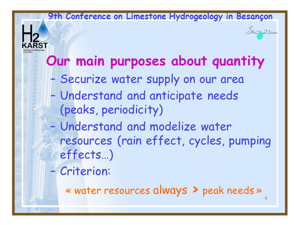 5 Geological context 9th Conference on Limestone Hydrogeology in Besançon
