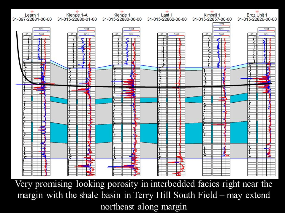 Very promising looking porosity in interbedded facies right near the margin with the shale basin in Terry Hill South Field – may extend northeast along margin