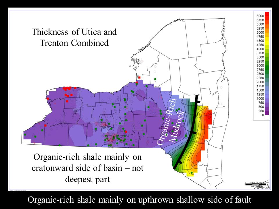 Organic-rich shale mainly on upthrown shallow side of fault Organic-Rich Mudrock Thickness of Utica and Trenton Combined Organic-rich shale mainly on cratonward side of basin – not deepest part