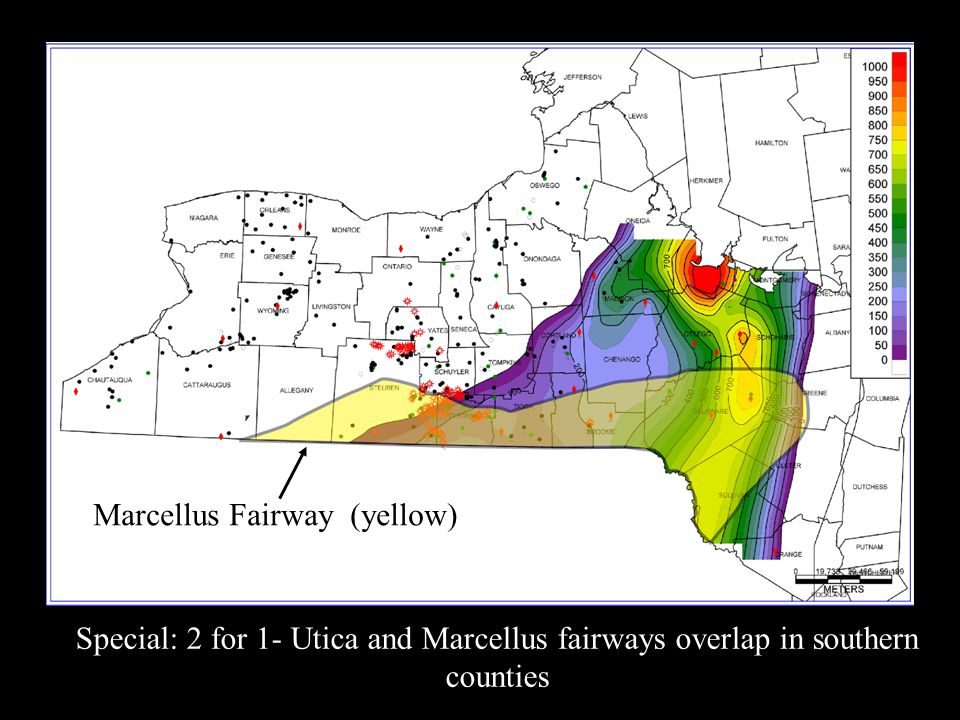 Special: 2 for 1- Utica and Marcellus fairways overlap in southern counties Marcellus Fairway (yellow)
