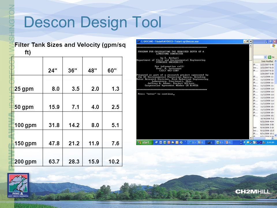 Descon Design Tool Filter Tank Sizes and Velocity (gpm/sq ft) 24