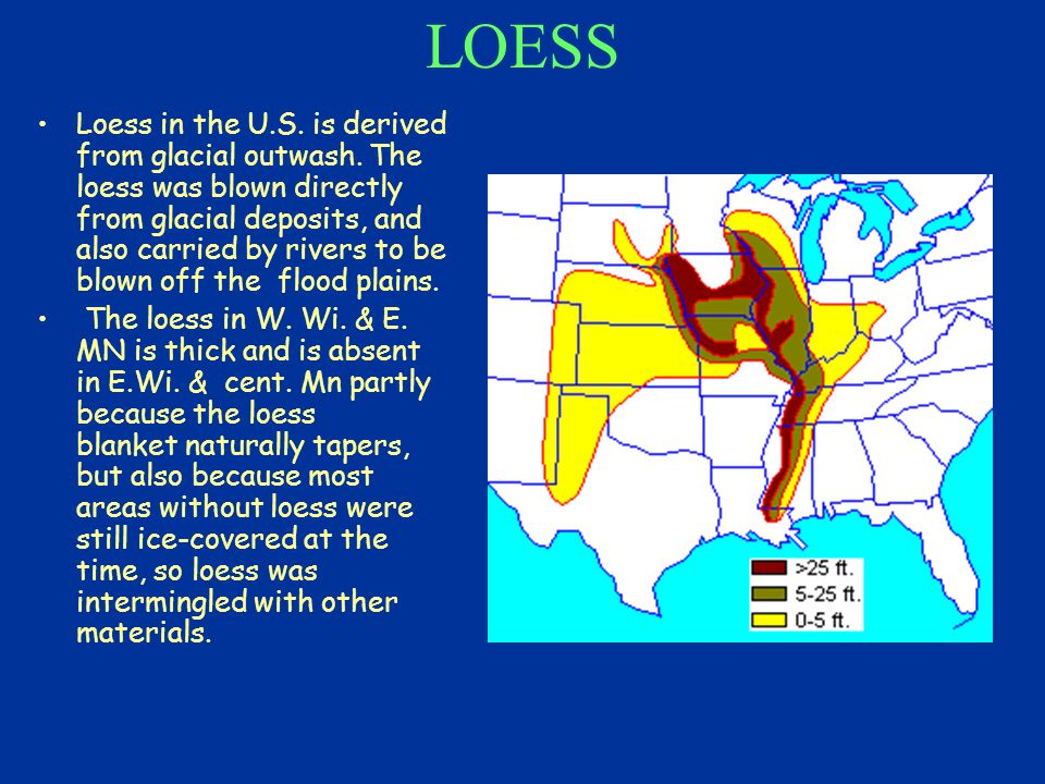 LOESS Loess in the U.S.is derived from glacial outwash.