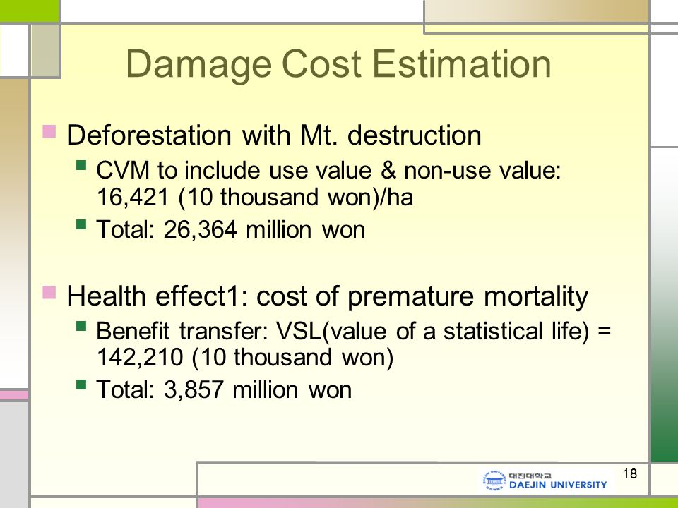 18 Damage Cost Estimation Deforestation with Mt.