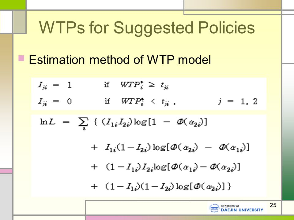 25 WTPs for Suggested Policies Estimation method of WTP model