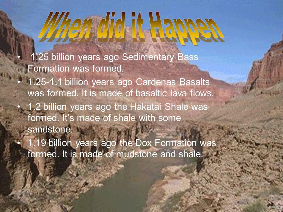 1.25 billion years ago Sedimentary Bass Formation was formed.