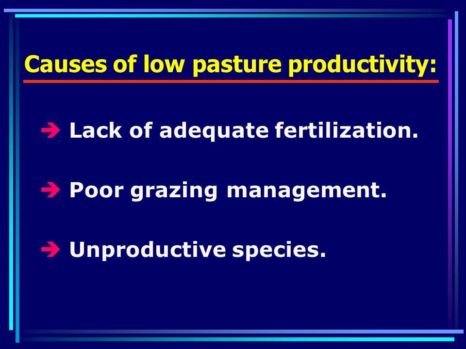 Causes of low pasture productivity:  Lack of adequate fertilization.