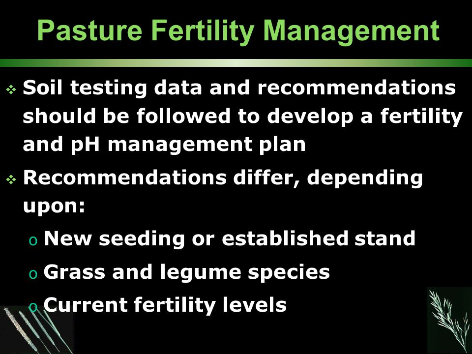 Pasture Fertility Management  Soil testing data and recommendations should be followed to develop a fertility and pH management plan  Recommendations differ, depending upon: o New seeding or established stand o Grass and legume species o Current fertility levels