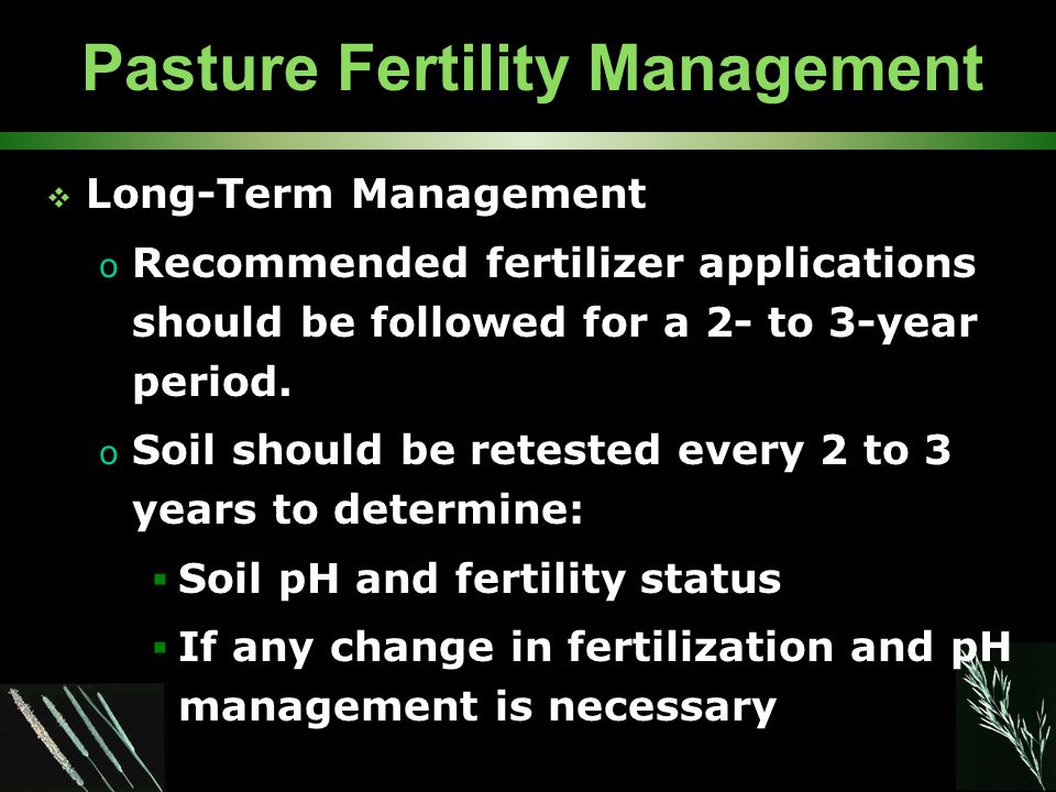 Pasture Fertility Management  Long-Term Management o Recommended fertilizer applications should be followed for a 2- to 3-year period.