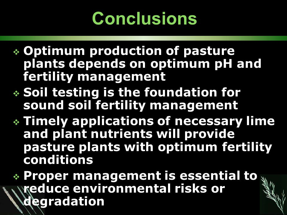 Conclusions  Optimum production of pasture plants depends on optimum pH and fertility management  Soil testing is the foundation for sound soil fertility management  Timely applications of necessary lime and plant nutrients will provide pasture plants with optimum fertility conditions  Proper management is essential to reduce environmental risks or degradation